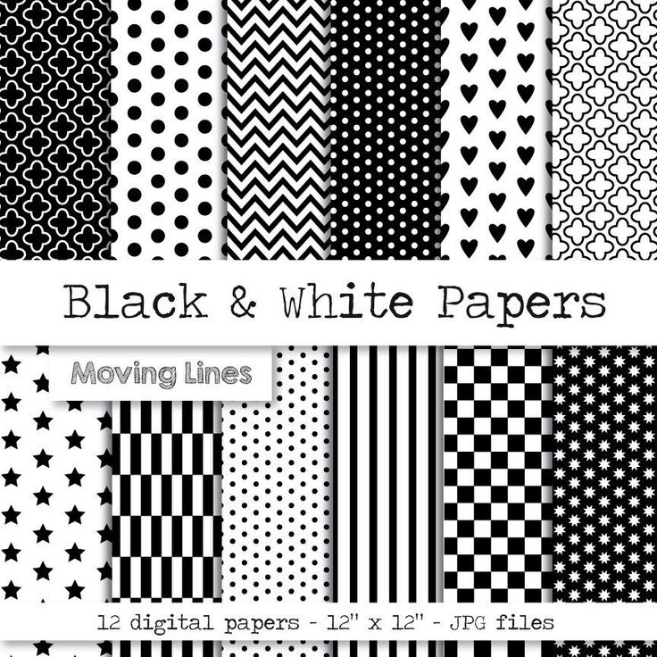 Black and White Digital Paper Pack, Gift Wrapping Paper, Origami, Scrap Book Pap...
