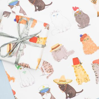 cats in hats gift wrap set of two sheets by jo clark design | notonthehighstree....