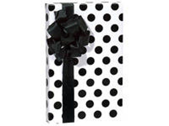 White Background Black Polka Dots  Gift Wrap Wrapping Paper-18ft Roll w. 20Gift ...