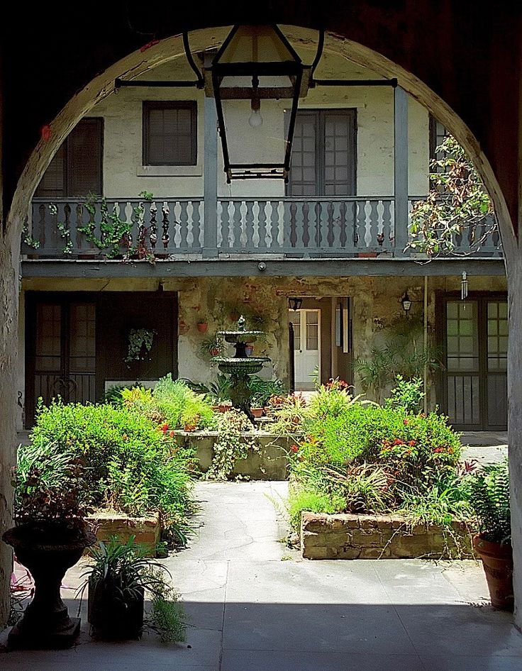 A courtyard garden in the French Quarter in New Orleans. Photograph by David Ohm...