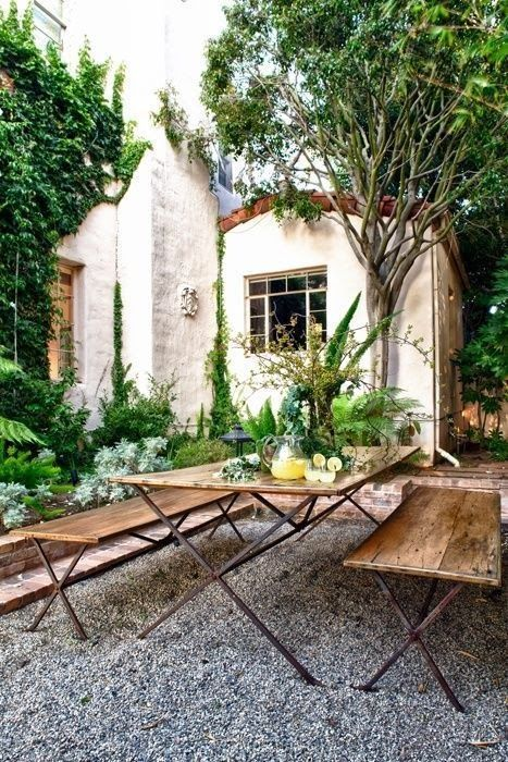 I like the idea of gravel as a substitute for concrete paving or grass, creative