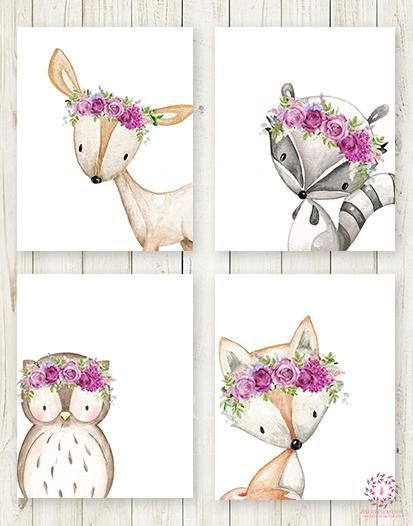 4 Deer Fox Owl Raccoon Boho Wall Art Print Purple Woodland Bohemian Floral Nurse...