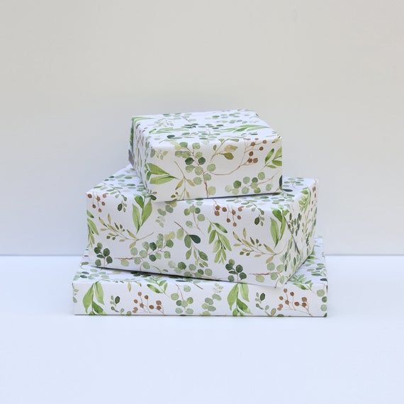 Gift Wrap Greenery Pattern, Matte Wrapping Paper, Wedding Greenery, All Occasion...
