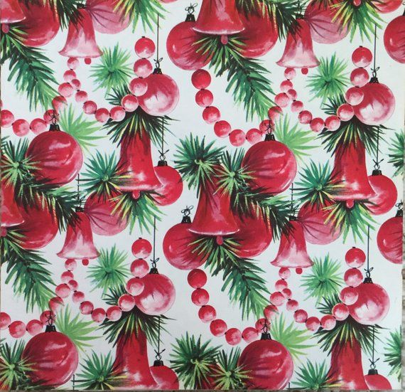 Vintage NOS 1960s Christmas holiday gift wrap - Xmas present wrapping paper - re...