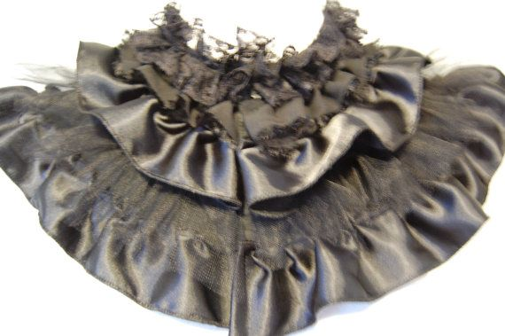 Black Victorian high fashion goth anime ruffle collar with lace and tulle. $35.0...