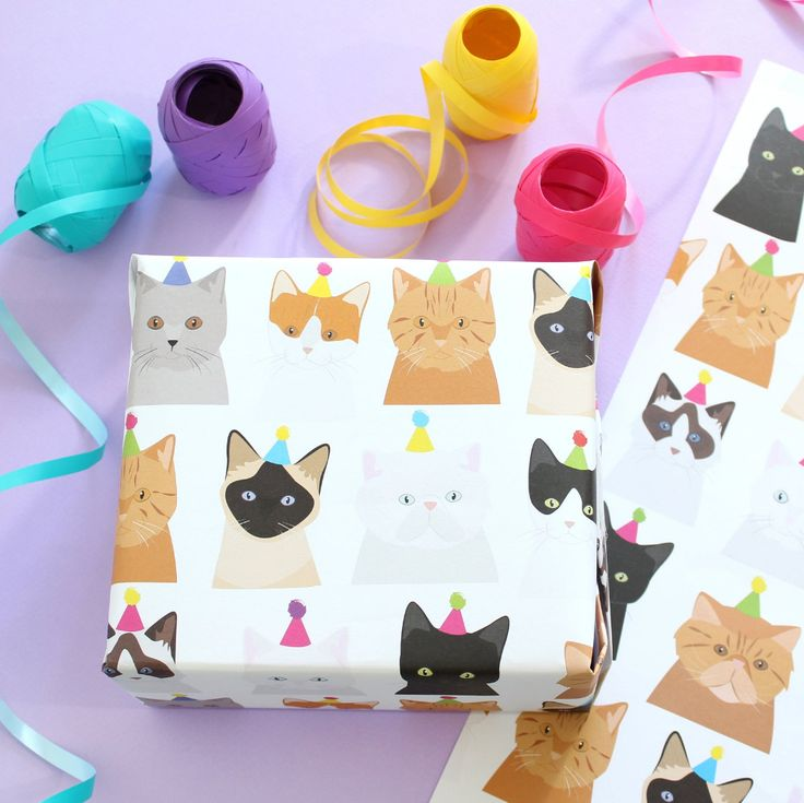 Birthday cat wrapping paper / Birthday Gift wrap / Pussy Cat / | Etsy