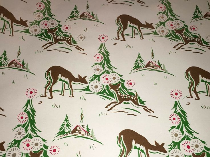 VTG CHRISTMAS WRAPPING Paper Gift Wrap Deer Cabin Winter Trees Nos So Cute - $9....