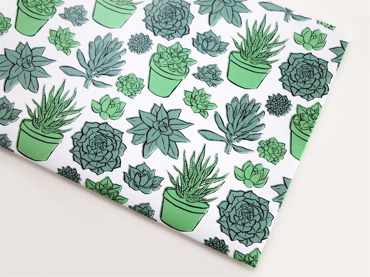 Succulents Wrapping Paper | Cacti Plants Patterned Gift Wrap by savannahstorm on...