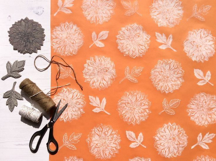 Handprinted Gift Wrap. Dahlia & Leaf Design. Lino Printed Hand-Stamped Wrapping ...