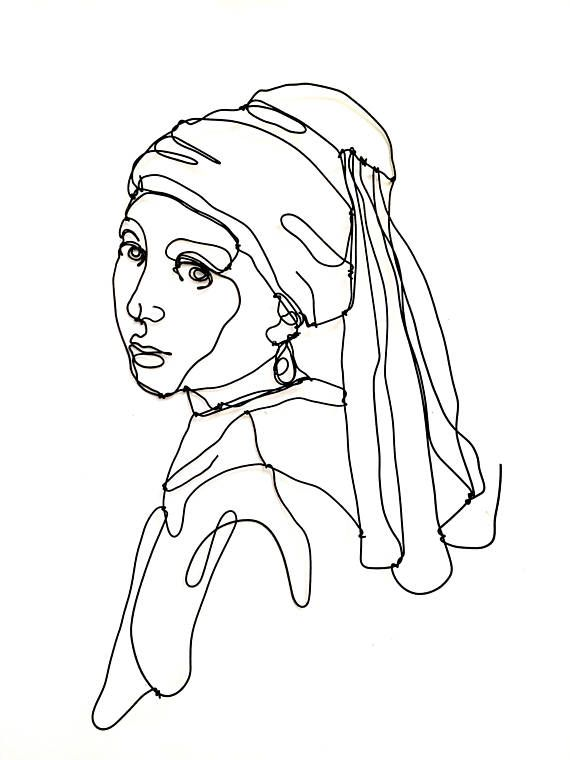 Girl with a pearl earring Wire wall sculpture  Girl #girlwithapearlearring #wire...