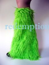 Demonia Huge Furry Cyber Goth Anime Rave Monster Fake Fur Boot Covers GREEN