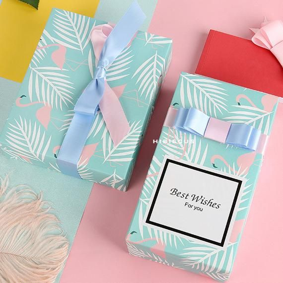 Pink Flamingo Wrapping Paper, Light Blue Wrapping Paper, Gift Wrap Sheets, Holid...