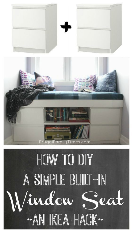 How to build a custom window seat from 2 Ikea Malm nightstands. This simple tuto...