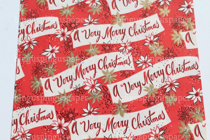 Vintage Merry Christmas Gift Wrapping Paper Old fashioned Red | Etsy