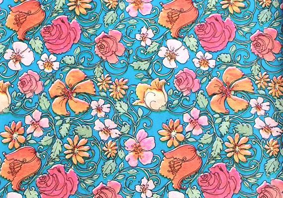Sheet of Vintage Floral Wrapping paper - All occasion gift wrap with Victorian w...