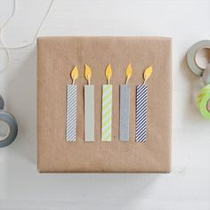 Washi Birthday Candles Gift Wrap - 30 DIY Eco-Friendly Gift Wrapping Ideas #cand...