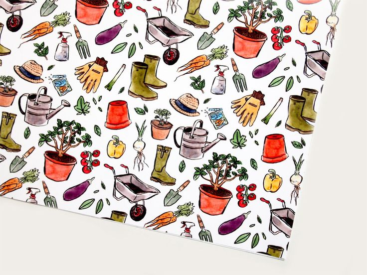 Gardening Wrapping Paper | Plants Vegetables Patterned Gift Wrap by savannahstor...