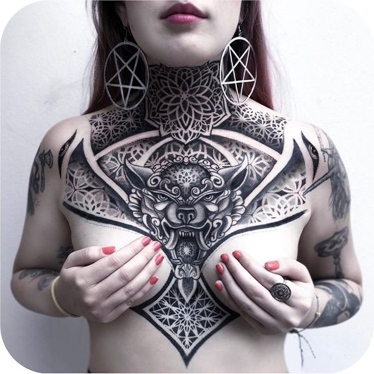 Geometric chest-piece made by Chalana Dots in Costa Rica #TATTOODO