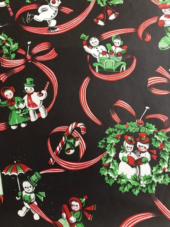 Vintage 1950s Holiday Gift Wrap Paper--1 Sheet Christmas Wrapping Paper--Silly S...