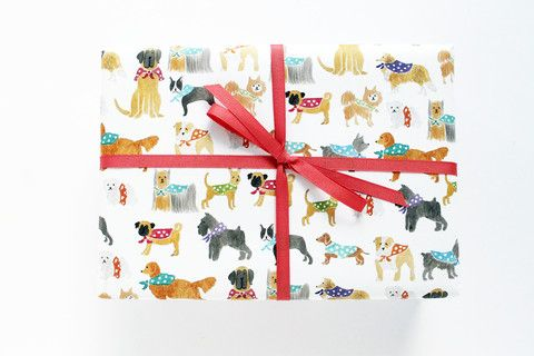 [65] Polka-dot Dogs Wrapping Sheets – Lydia & Pugs; this is one of three desig...