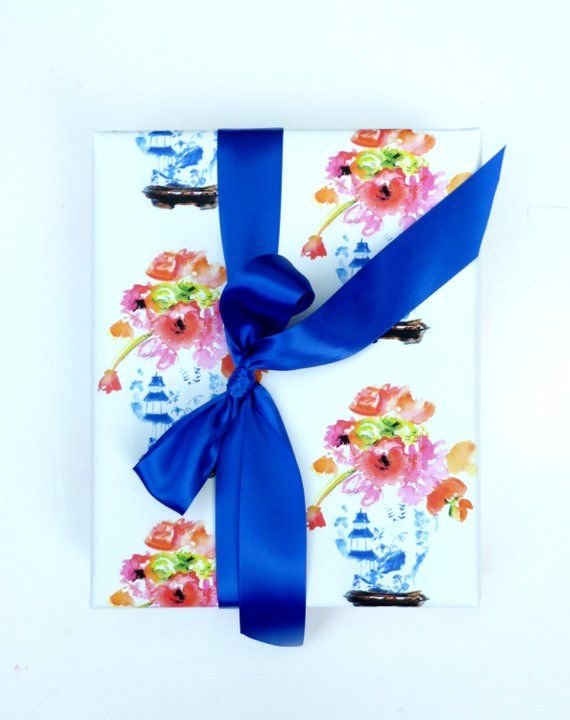Ginger Jar Wrapping Paper Roll Gift Wrap Blue and White Classic Floral Paper Gif...