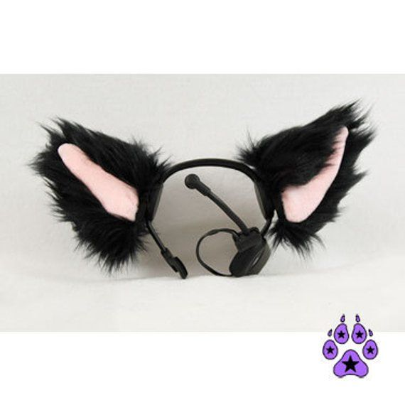 Pawstar Necomimi Mew Sleeves ONLY - Furry Cat Ear Kitty Covers Replacement black...