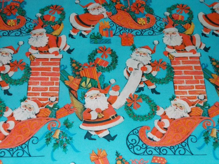 VTG CHRISTMAS WRAPPING Paper Gift Wrap 1960 Nos Blue With Santa Sleigh Chimney -...