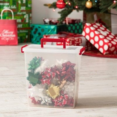 Iris 3pk Holiday Bow Box with Handle Red