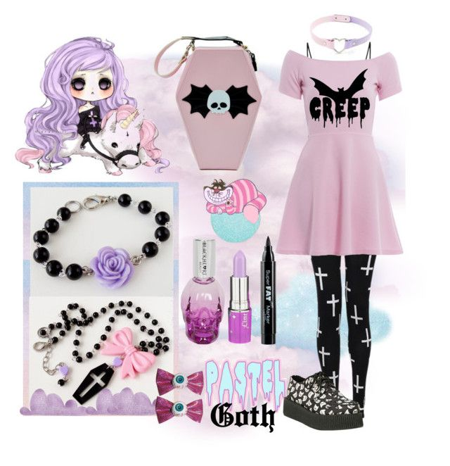 """Pastel Goth 1"" by marielecastan ❤ liked on Polyvore featuring AX Paris, Lime ..."