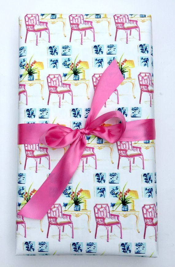 Lilly Pulitzer Paper Wrapping Paper Roll Gift Wrap Pink Gift Wrap Roll Chippenda...