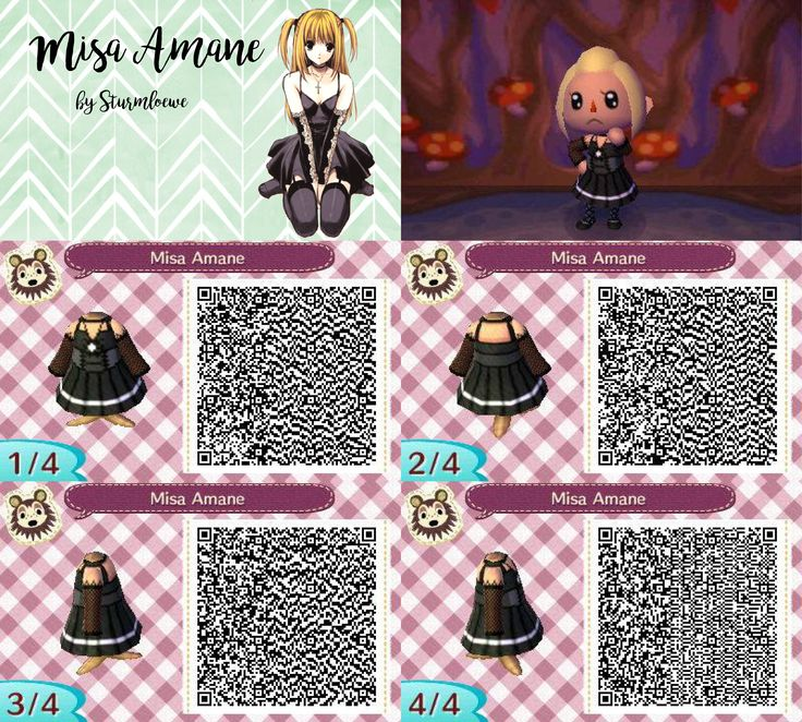 Death note misa amane dress for animal crossing acnl  qr code girl black goth by...