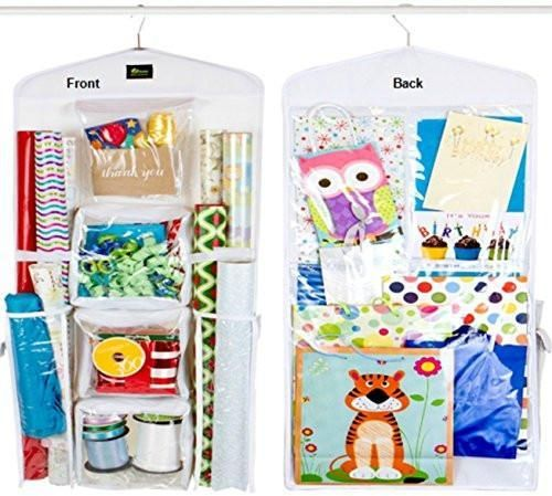 Dual Sided Vertical Gift Wrap Organizer, Wrapping Paper Organizer, Paper Storage...