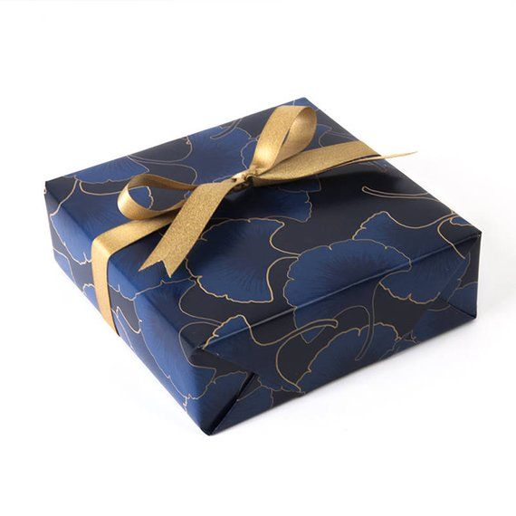 Ginkgo Leaves Wrapping Paper,Wedding Gift Wrap,Navy Blue Wrapping Sheets,Holiday...