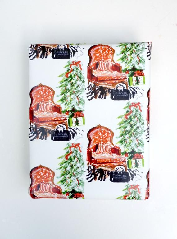Christmas Wrapping Paper, Gift Wrap Paper, French Chair, Bergere, Sketch, Christ...