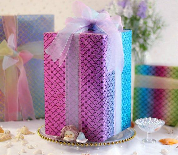 Gradient Scale Wrapping Paper,Birthday Gift Wrap,Baby Shower Wrapping Sheets,Gli...