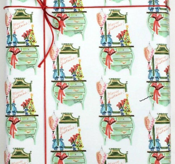 Christmas Gift Wrap Holiday Wrap Chinoiserie Interior Bombay Chest Pastel Colors...
