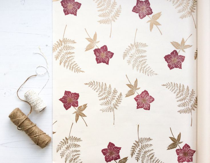 Handprinted Gift Wrap. Gold Fern and Hellebore Flower Design. Lino Printed Hand-...