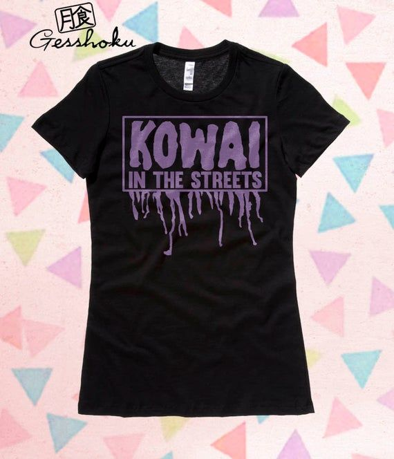 Kawaii in the streets? Nothing but. Our kowai (scary) t-shirt will part the crow...