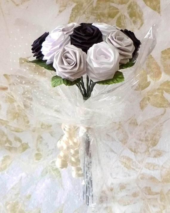 Origami Black and White Rose Bouquet (1 Dozen Gift Wrapped) Anniversay Gift, Val...