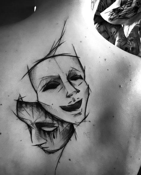 Sketch Style Mask Tattoo-Idee, #tattoodesign | #Mask #Sketch #STYLE #tattoodesig...