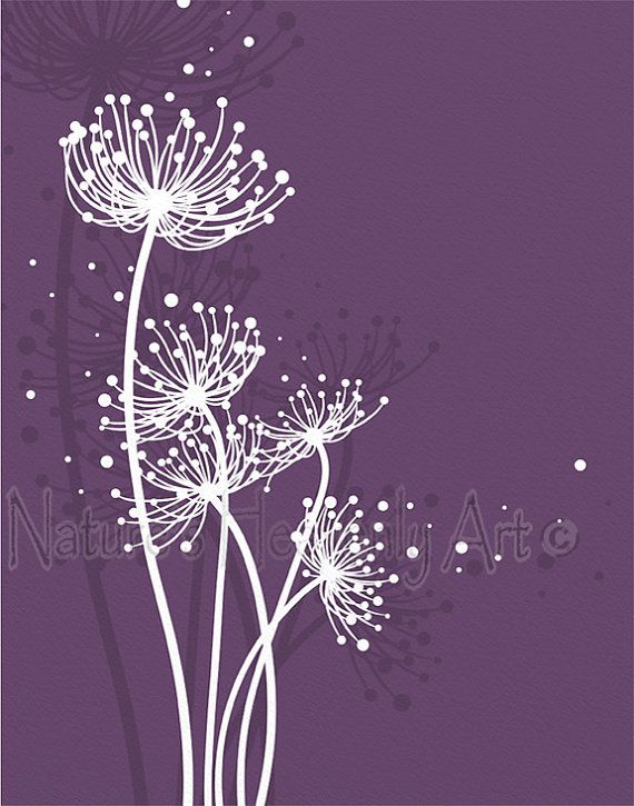 Dark Purple Living Room Decor Blowing Dandelion Wall Art 11 x
