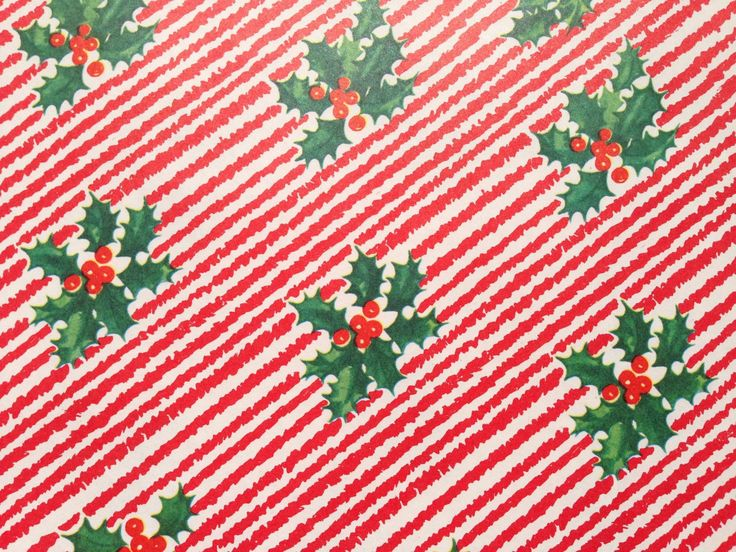 Vintage Christmas Gift Wrapping Paper Rustic Holly Squiggle | Etsy