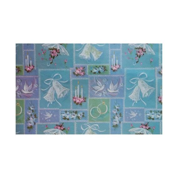 Vintage 80s Wedding Gift Wrap Blue with Doves Wedding Bells Candles Rings Paraso...
