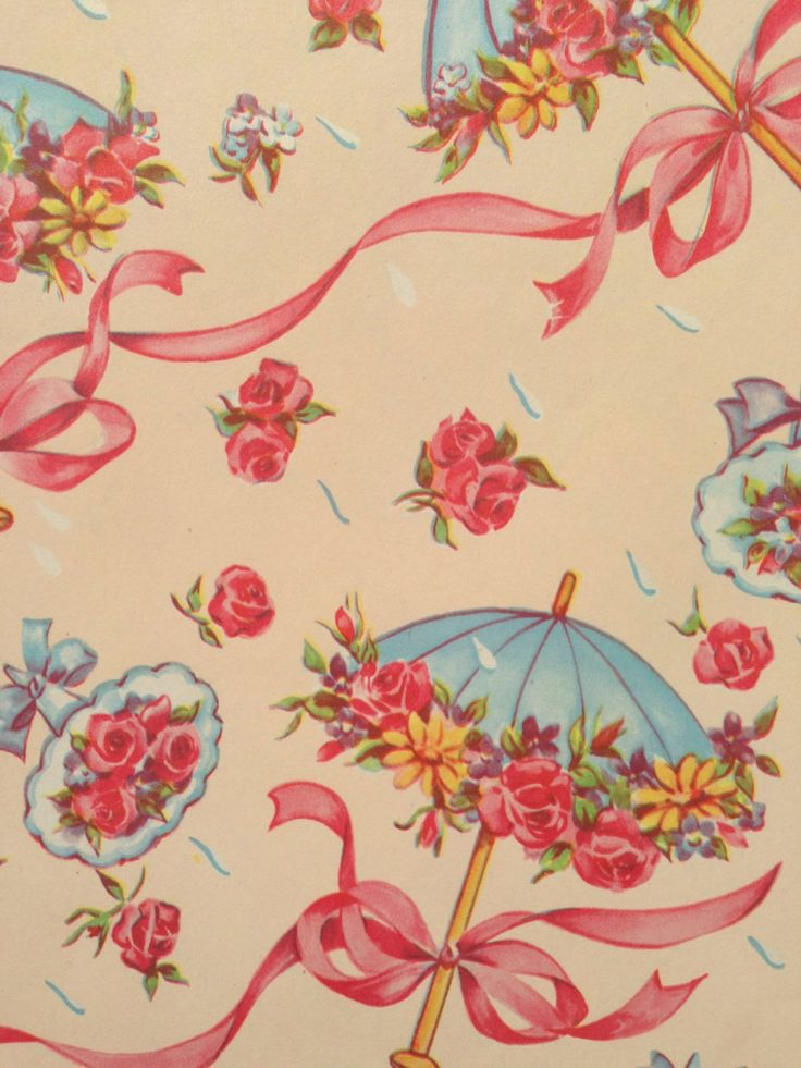 Vintage Gift Wrapping Paper Bridal Shower Pastels Floral | Etsy