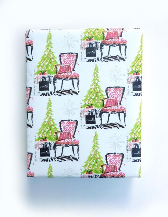 Christmas Wrapping Paper, Gift Wrap, Rolled Paper, French Chair, Christmas, Fest...