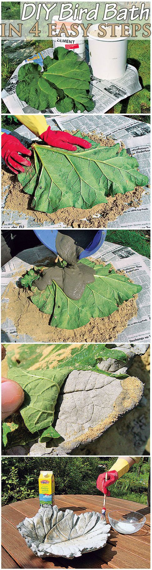 You can make a beautiful bird bath for your garden in just minutes. For this eas...