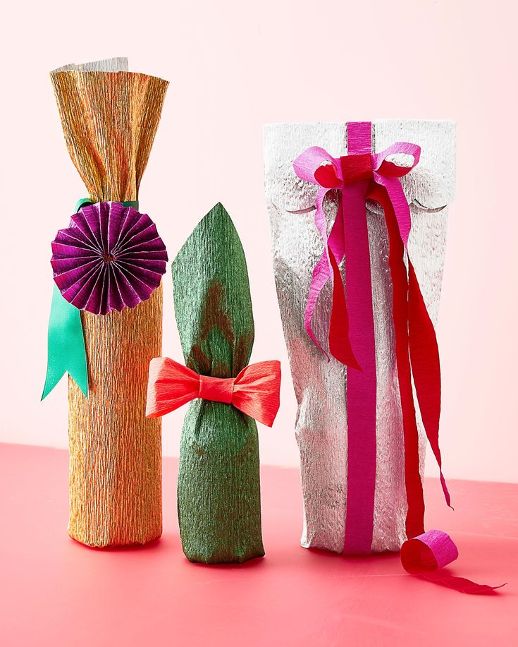 Crepe Paper: Our Golden Secret to Gift-Wrapping | Give bottles the couture treat...