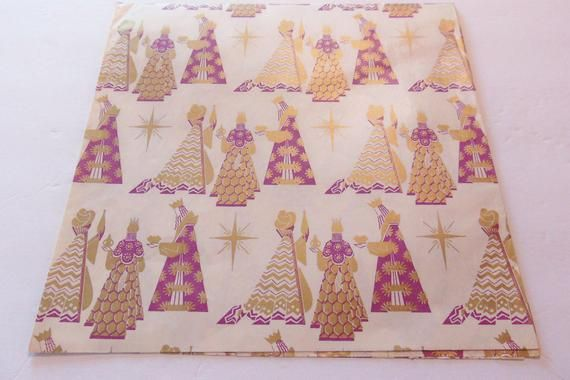 Vintage Atomic Three Wise Men Christmas Wrapping Paper, Vintage Religious Gift W...