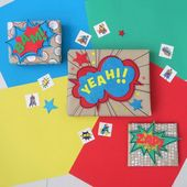 Bold, colourful and fun gift wrapping ideas inspired by the comic books! Great f...