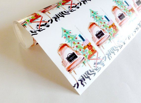 Christmas Gift Wrap, Wrapping Paper, Rolled Paper, French Chair, Christmas, Fest...